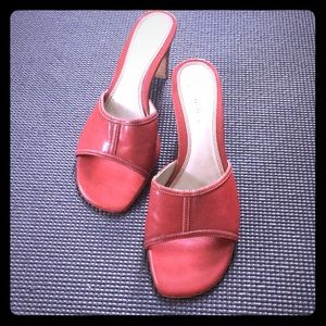Red open toe shoes